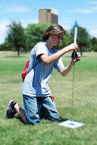 High school and middle school students prepare to launch their own rockets Friday, Aug. 1 as part of the T-STEM engineering camp.