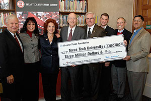 Texas  Tech officials accept a $3 million grant from representatives of the Greater Texas  Foundation.