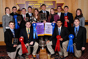 Texas Tech Wool Judging Team was awarded  champion and reserve champion honors at the National Western Stock Show