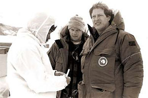 (L-R) Barry Lopez, Ted Clarke and Al Gore at a remote field camp in southern Victorialand in the Transantarctic Mountains in 1988.