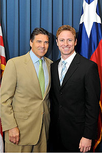 Gov. Rick Perry with new Texas Tech University student regent Kyle Miller.