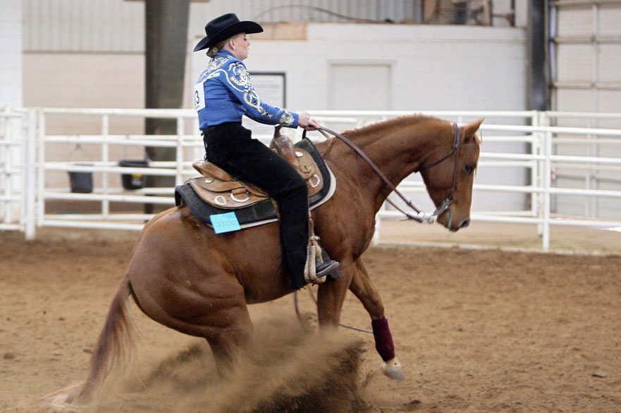 Alicia Daugherty was the first Texas Tech rider to compete in the NRHA invitational Collegiate Reining Championship.