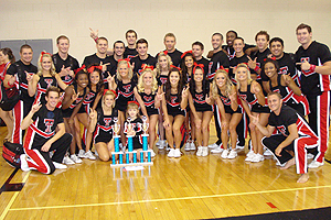 The Texas Tech Cheerleaders finished with the top overall score and won the title of most collegiate. Eleven members earned NCA collegiate all-American spots