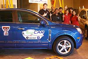 A team of Texas Tech engineering students received a vehicle, donated by General Motors, which they will transform into a next-generation eco-friendly car.