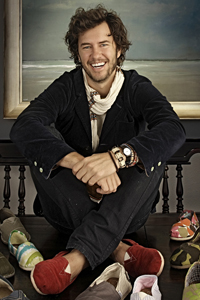 Blake Mycoskie, Chief Shoe Giver of TOMS Shoes, has provided shoes to 150,000 kids around the world.
