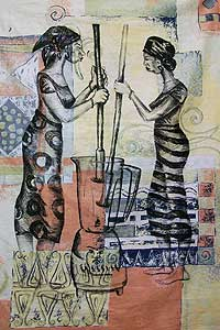 Esther Delaquis' paintings and prints are a bridge between her African heritage and western culture.