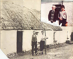 The McGlone cottage in 1932 with Daniel McGlone, John McGlone's great grandfather, and his nephew.