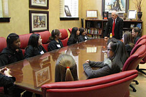 President Bailey speaks to student council members from the Talkington School for Young Women Leaders.