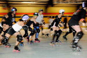 During practice, the West Texas Roller Dollz work on their speed, agility and learn how to minimize injuries.