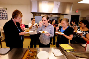 "During the semester, the class worked on creating recipes that the ""food insecure"" could prepare and purchase for low cost."