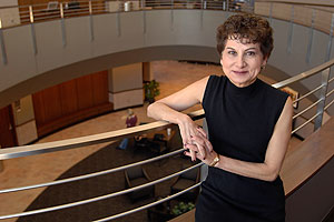 Susan Saab Fortney, pictured in the Law School's Lanier Center for Professional Development, will take the reins of the school until a permanent dean is named.