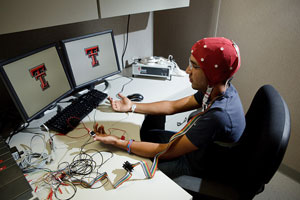 The fNIR equipment allows researchers to see where in the brain activity is occurring.