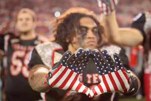 Soldiers were honored during the Missouri versus Texas Tech game with new football gear.