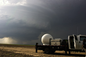 Ka-1, a Doppler radar, scanning a storm during V2 2009.