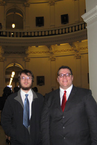 Zev Friedman and Jess Less at the State Capitol.