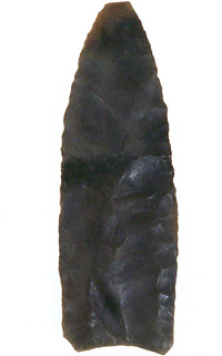 Projectile points the Clovis people used for hunting had a distinct style with a longer, exposed blade, so the point could also be used as a knife.