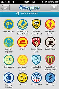 Lin Humphrey's Foursquare badges.