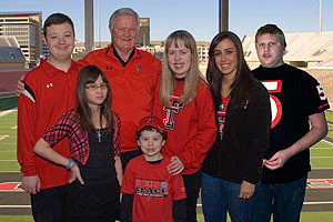 Gerald Myers, honorary walk chair, and Haley Fowler, Texas Tech soccer player (second from right), with friends of the Burkhart Center.