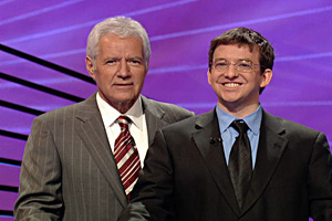 Rhodes, pictured with Alex Trebek, is pursing a master's degree in philosophy.