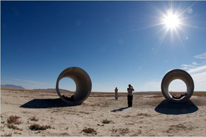 "Nancy Holt's ""Sun Tunnels"" in Utah was a stop the students made during the two-month trip."