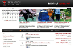 With Events@TexasTech readers can download events to their  email, post them to their Facebook page or publish them to their personal web pages.