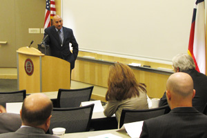 Kousay Abdulsattar Majboor, director general of Iraq's Ministry of Electricity, discusses the challenges of getting power to people in his country during a presentation to Texas Tech researchers.