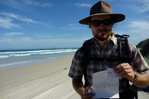 Luke McLaren and his partern Diane Chanut found the message in a bottle on a dune out from the tide line of Southwestern Australia's Big Quaram Beach.