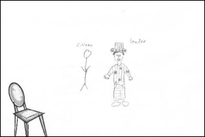 Here's one of the sketches the researchers received, depicting a leader compared to an average citizen.