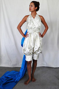 The pants alternative Olivares designed, and modeled here by AnJulie Hira, was inspired partly by Bollywood.