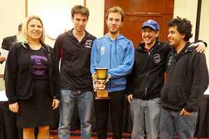 Susan Polgar and members of the Texas Tech Knight Raiders celebrate their strong performance at the PanAm Intercollegiate Championship.