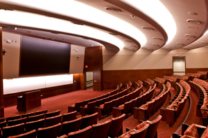 The 250-seat auditorium is equipped with a 10-by-16-foot screen made up of 108 LED rear-projection tiles and 10.2 million pixels.