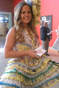The students were instructed to design wearable outfits using recycled materials, such as the pages of old phone books.