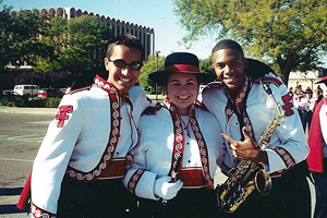 Hill, right, joined the Goin' Band as a freshman saxophonist.