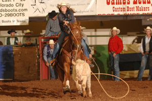 For the second year in a row, Kirsten Stubbs won the breakaway calf roping event at the Western Texas College rodeo.