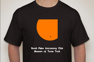 The South Plains Astronomy Club and Museum of Texas Tech created T-shirts for the rare event, and they will be available at the viewing for $10 each.