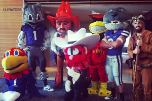 Raider Red poses at the camp with other mascots from the Big 12 Conference.