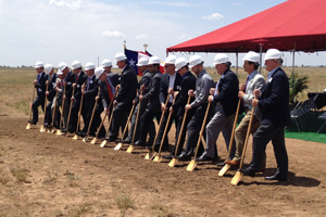 Officials from Texas Tech, the U.S. Department of Energy, Sandia, Vestas and Group NIRE take part in a ceremonial groundbreaking at the new SWIFT facility.