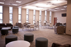 The new building also provides space for student lobbies and study areas.