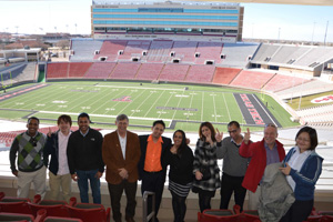 Some of the students from the University of Hertfordshire visited the Texas Tech campus, including Jones AT&T Stadium, last summer.