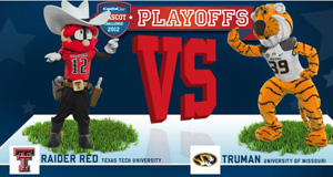 Raider Red will take on Truman from the University of Missouri in the first round of the playoffs.