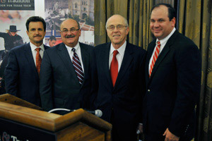 From left, Texas Tech Interim President Lawrence Schovanec, Apache Corp. President and COO Rodney Eichler, Texas Tech Chancellor Kent Hance, and Apache Corp. Vice President-Permian Region John Christmann.