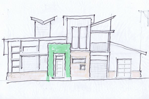 Donovan Davis, who graduated in 1984, sketched the design that was used for the house.