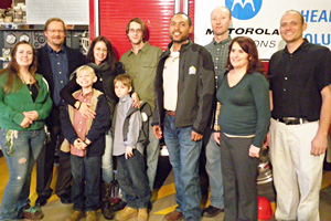 Davis, far left, is pictured here with the Zdroj family and other volunteers of the project.