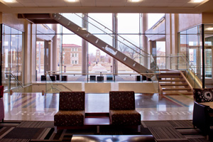 The windows in the Rawls Building block 40 to 60 percent of the sun to conserve energy.
