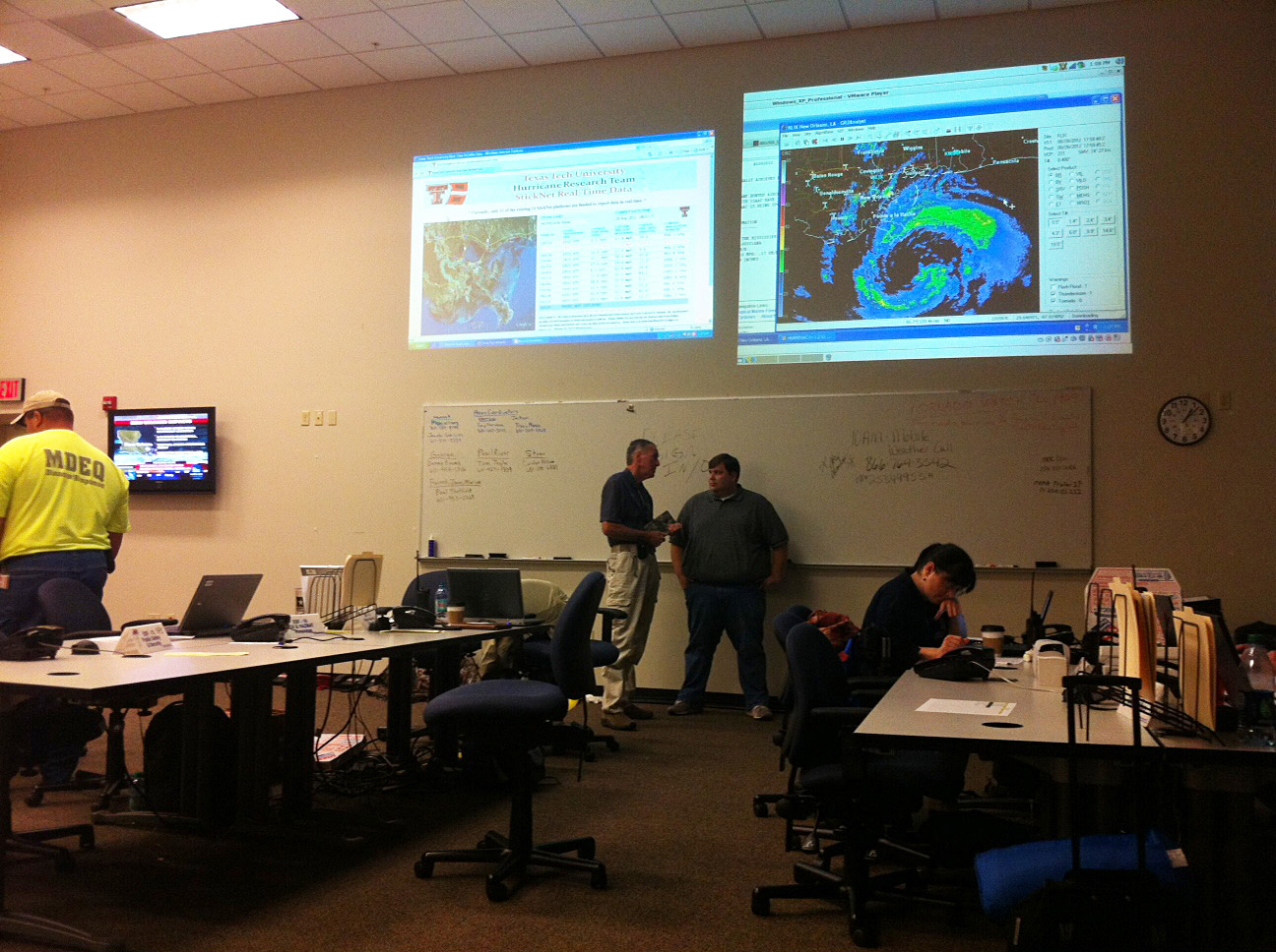 The real-time observations collected by Texas Tech were displayed on the big screen at the Mississippi Emergency Management Association (MEMA).