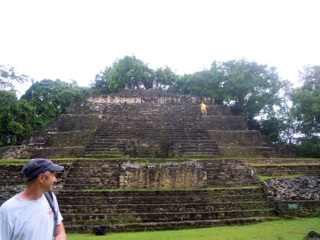 Associate proffesor Brett A. Houk (foreground) and Texas Tech Field School in Maya Archaeology students visiting the ruins at Lamanai, Belize in 2012.