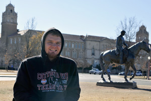 Although Texas Tech is a large school, Ben Cox likes that the campus feels like a tight-knit community.
