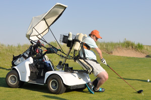 Ben also continues to play golf, thanks to his customized golf cart.