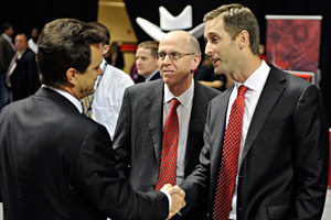 New Texas Tech football coach Kliff Kingsbury chats with Interim President Lawrence Schovanec and Chancellor Kent Hance.