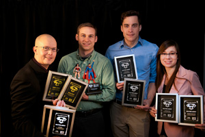 The ADDY honorees for the Office of Communication and Marketing included, from left to right, Chris Rios, Matt Simmons, Jonathan Looney and Allison Matherly.